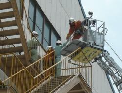 はしご車による救出訓練