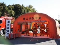 エアテントを使用した応急救護所