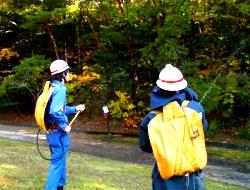 消防団による残火処理訓練